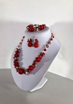 Red coral necklace bracelet earrings set, Red jewelry set, Coral necklace, Statement jewelry coral set, Wedding bridesmaid neckalce gift by TreasureMyIsland on Etsy