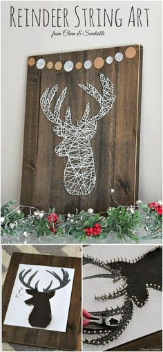 Adore your home for that rustic glam touch with this elegant and beautiful string art craft! Rustic Christmas Crafts, Pallet Wood Christmas Tree, Diy Paper Christmas Tree, Burlap Christmas Stockings, Rustic Crafts, Diy Christmas Gifts, Decor Crafts, Christmas Decorations, Rope Crafts