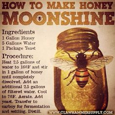 How to Make Honey Moonshine. Here is one of our favorite recipes of all time: Honeyshine. It's basically a no frills distilled mead, but it packs a powerful punch and tastes great. We've grown accustomed to using wildflower honey because it has more com Honey Moonshine Recipe, Moonshine Kit, Apple Pie Moonshine, Moonshine Whiskey, Making Moonshine, Moonshine Recipes Homemade, 5 Gallon Moonshine Recipe, Honey Shine Recipe, Drink Recipes