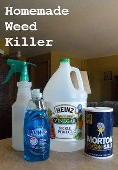 Homemade Weed Killer  Here is what you will need: http://su.pr/1FwB9X    1 gallon of white vinegar  1/2 cup salt  Liquid dish soap (any brand)  Empty spray bottle    Put salt in the empty spray bottle and fill it the rest of the way up with white vinegar. Add a squirt of liquid dish soap.  This solution works best if you use it on a hot day. Spray it on the weeds in the morning, and as it heats up it will do its work.