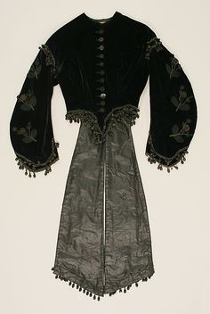 1860-1865 Silk jacket with lovely jet beaded trimming and long panels at the back waist.