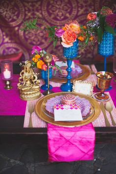 Colorful east meets west wedding reception tablescape