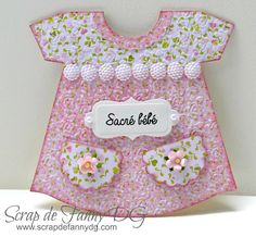 Dress baby card - Scrapbook.com - Stunning die cut, embossed, inked and shaped welcome baby card!