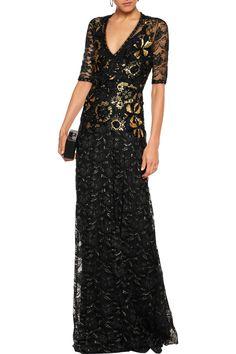 Jenny Packham Metallic embellished lace gown
