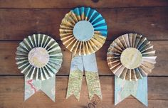 Recycled Map Prize Ribbon available at Saratops. Would be so cute topping a Father's Day or graduation gift!