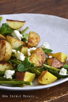 Garlic-Roasted New Potato and Asparagus Salad with Fresh Mint and Goat Cheese Front View