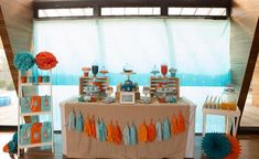 Octonauts Party with Lots of Fun Ideas via Kara's Party Ideas. Orange, aqua, turquoise, and teal blue. Bicycle Birthday Parties, 4th Birthday Parties, Birthday Party Decorations, 5th Birthday, Birthday Ideas, Teen Beach Party, Teal Party, Octonauts Party, Adoption Party