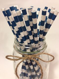 25 Navy Blue Stripes paper straws // baby bridal by TamsCorner, $6.19