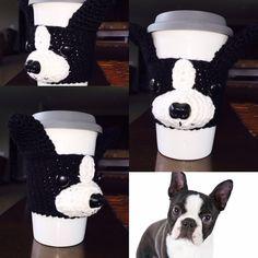 Boston Terrier Mug Cozy Dog Cozy Coffee Sleeve by HookedbyAngel