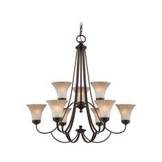 Chandelier with Amber Glass in Palladian Bronze Finish | ALZ5009PN | Destination Lighting