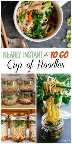 Instant Healthy Homemade Noodle Cups To Go Nearly Instant Homemade Noodle Cups - Healthy Lunches To Lunch Snacks, Clean Eating Snacks, Lunch Recipes, Soup Recipes, Vegetarian Recipes, Healthy Eating, Cooking Recipes, Healthy Recipes, Simple Recipes