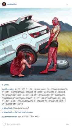 #scarletvision ---> What is written in binary literally translates as 'How do cars work I am not a car'