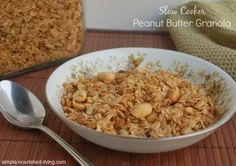 Slow Cooker Peanut Butter Granola | Weight Watchers Friendly Recipes 4 points + for 1/4 cup
