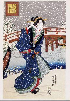"Postcard Kunisada ""Evening Snow"" Eight Scenes of Edo ""Ukiyoe"" Geisha Japanese | eBay"