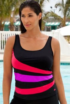 30a7eefc70a2b Aquabelle Chlorine Resistant! Red and Purple Plus Size Spliced Tankini Top  Women`s Swimsuit