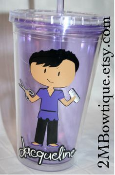 Personalized Hairdresser Tumbler Cups. Great stylist gift.