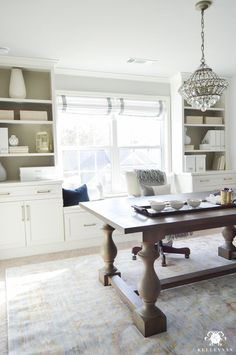 Neutral, White, and Gold Home Office Makeover with styled built-ins flanking the center window. Check out this timeless, elgant, glam One Room Challenge Reveal