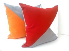 Throw Pillow, Geometric Modern Home Accent, Red, White and Grey Decor by CushionsandMore on Etsy