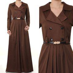2408 Dark Brown Cotton Tailored Collar Islamic Abaya by MissMode21, $32.00