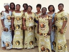 The Relief Society Sisters in Ghana wearing their Prophet Dresses to celebrate the RS birthday/ Souvenir Chronicles, LDS Church in Ghana, Part I