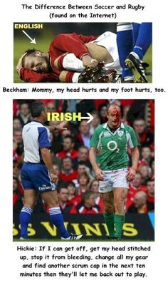 the difference between rugby and soccer.I guess I should've been a rugby player, lol Rugby Sport, Rugby Vs Football, Rugby Gear, Soccer Teams, Football Memes, Nike Soccer, Football Boots, College Football, Rugby League