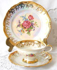 lusterware tea cup trio pink roses teacup tea cups luster