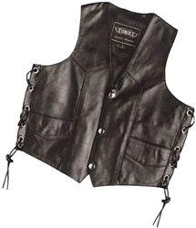 Biker style kids motorcycle leather vest for boys.