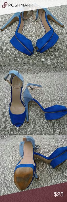Blue on blue Zara platform heels Royal blue and light blue Zara collection13 platform peeptoe heels. Suedeish material outer no damages stains or scuffs to the shoes or heels. Condition is very good. Size 10. Platform is 1.25 inches and total heel height 5.25. Accepting reasonable offers. Zara Shoes Platforms
