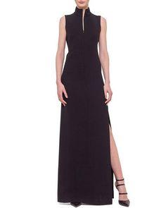 Akris Sleeveless Fringe-Back Gown, Black