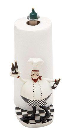 Fat Chef Paper Towel Holder Statue Figurine Wine kitchen Bar Accent D Fat Chef Kitchen Decor, Bistro Kitchen, Kitchen Decor Themes, Home Decor, Diy Kitchen, Kitchen Ideas, Ikea Raskog, Decorative Objects, Decorative Accessories