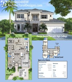 Architectural Designs House Plan gives you over square feet of heated living space + almost 800 square feet of outdoor entertaining space. Where do YOU want to build? Modern Architecture House, Architectural Design House Plans, Architecture Design, Florida House Plans, Florida Home, 4 Bedroom House Plans, House Floor Plans, Floor Plans 2 Story, Open Layout