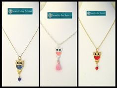 Owl Enamel Pendant Chain Necklace from Jewelry by Scotti. Choose from 3 Colors – 1 of each available - Use link to see more: www.etsy.com/listing/517232378   #handmade #jewelry #ooak