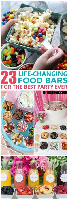 These 23 Food Bars Are The CUTEST! I love how creative these ideas for and there's everything included from breakfast, brunch, snacks, dinner and desserts!