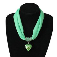 Mint Green Chiffon Choker Heart Pendant Necklace Ladies  Summer Scarf Necklace  #chway #Choker