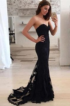 Black Mermaid Strapless Sweetheart Party Evening Long Prom Dress PL283
