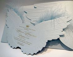 Angel-themed Christening Invite
