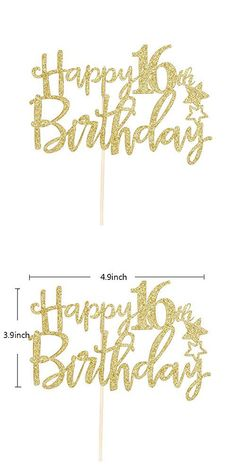 Large Happy FING Birthday Banner with Birthday Crown and Sash Gold Glitter Cake Topper for Birthday Party Decorations Birthday Party Accessories and Party Favors