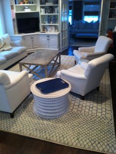 Hip Family room with Moraccan Rug
