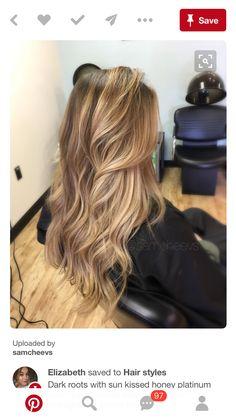 Dark roots with SU kisses honey platinum blonde