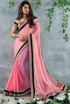 USD 51.33 Pink Chiffon Party Wear Saree 48295