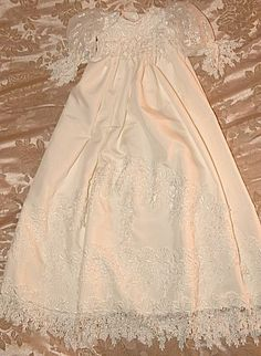 Custom Venise Lace Silk Christening Gown