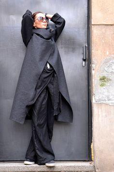 Dunkel grau Casha Mantel / Langarm / Casha / wolle von Aakasha