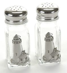 GLASS Salt & Pepper Shakers with LIGHTHOUSES
