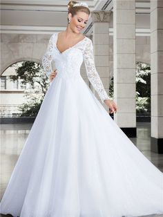 Princess V Neck Long Sleeve Lace Tulle Glitter Wedding Dress#bridalgown#longsleeve#weddings