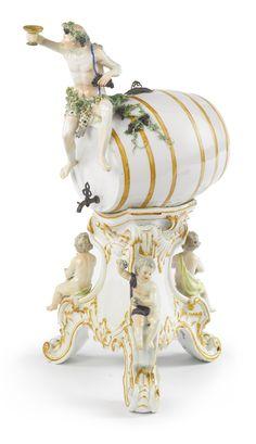 A Meissen Spirit-Barrel on Stand, Circa 1775 ||| sotheby's
