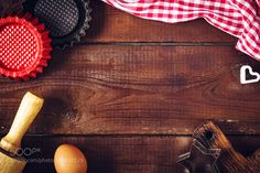 Pic: Food background: baking props on wooden table