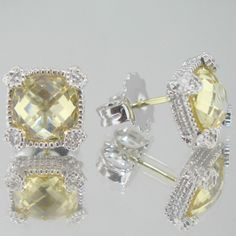 9CT Canary Crystal Linen Stud Earrings
