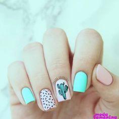 ▷ 1001 + ideas for cute nail designs you can rock this summer - ▷ 1001 + ideas for cute nail designs you can rock this summer pink and blue, nail polish, green cactus, black hearts, cool nail designs Summer Acrylic Nails, Best Acrylic Nails, Summer Nails, Nail Swag, Cute Nails, Pretty Nails, Hair And Nails, My Nails, Nail Art Designs