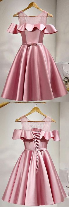 Short ,A-line/Princess ,Party Dresses, Pink ,Sleeveless, With Bow knot ,Knee-length ,Homecoming Dresses,Prom Dress ,short Prom Dress,2018 prom dress,evening dress