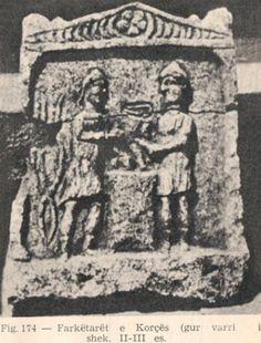 Antikitet-Arber-shqiptar-deshmi-Albert_Vataj-arkiva-memorie-histori_n (73)   Farkëtarët.  e Korçës.  ( gur varri).  100 - 300 e.t
